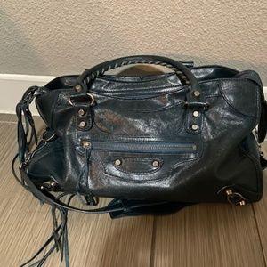 Balenciaga Dark Green Leather City Satchel Bag